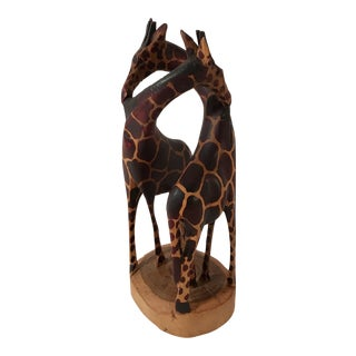 Hand Carved Wooden Giraffes Sculpture For Sale