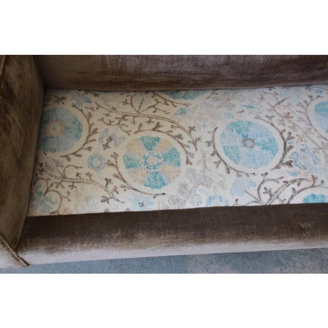 Brown Baker Furniture Mid-Century Tufted Brown Velvet Sofa For Sale - Image 8 of 12