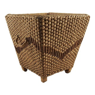 Woven Grass & Wood Waste Basket For Sale