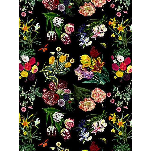Transitional Scalamandre Nicolette Mayer for Scalamandre Flora & Fauna, Black Wallpaper For Sale - Image 3 of 3