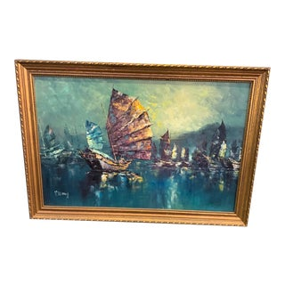 Mid Century Modern Brutalist-Style Oil Painting by Wong of a Seascape For Sale