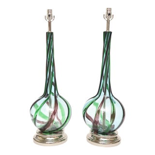 Murano Seguso Glass Table Lamps Pair of Vintage For Sale