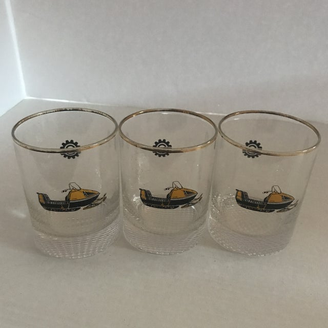 1970s Vintage 1970s Bombardier Snow Mobile Double Old Fashion Glasses - Set of 3 For Sale - Image 5 of 6