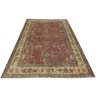 Watermelon and Navy Distressed Antiqued Carpet For Sale