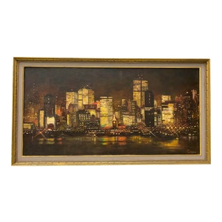 Mid Century San Francisco Skyline at Night Original Oil Painting by Conger C.1950 For Sale