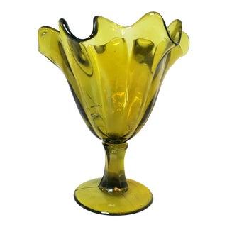 Mid 20th Century Dark Yellow Depression Glass Dessert Dish For Sale