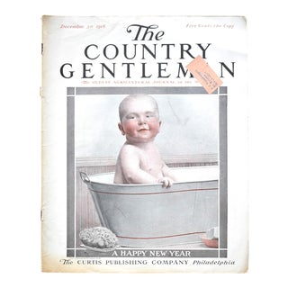 """December 1916 """"The Country Gentleman"""" Magazine With a Baby in a Bathtub For Sale"""