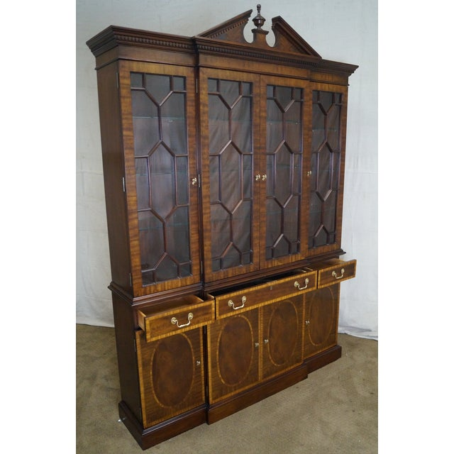 Store Item #: 14922-ax Councill Craftsman Inlaid Flame Mahogany Breakfront Bookcase AGE/COUNTRY OF ORIGIN: Approx 25...