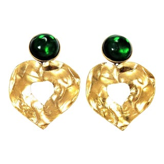 Ysl Gripoix Emerald Poured Glass and Gold Drop Heart Earrings For Sale