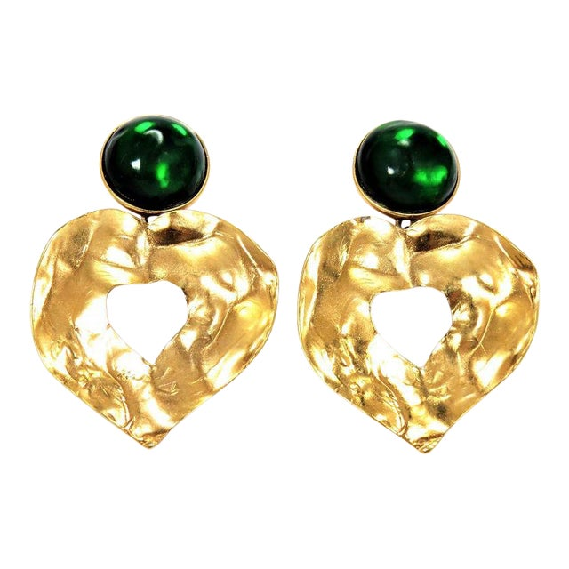 80031660285 Ysl Gripoix Emerald Poured Glass and Gold Drop Heart Earrings | Chairish