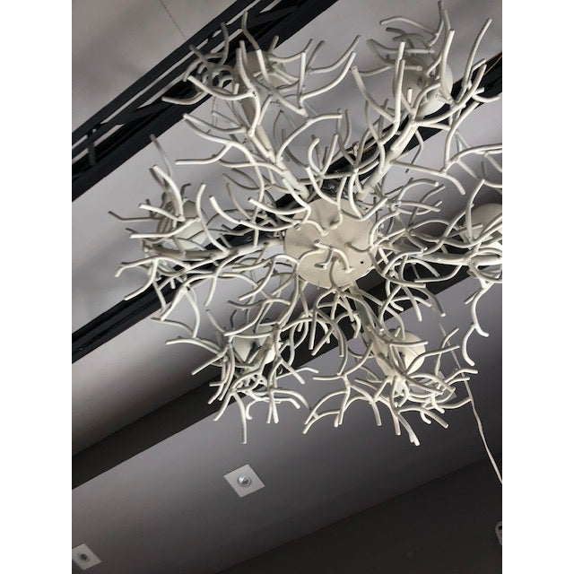 Sculptural Vintage Faux Coral Iron Chandelier For Sale In Miami - Image 6 of 8