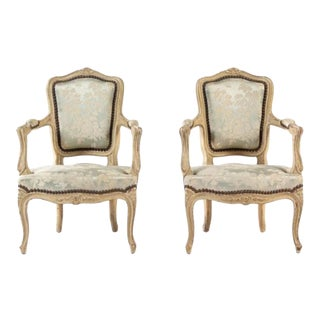 Charming 19th Century Pair of Louis XV Style Painted Child's Chairs For Sale