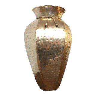 1960s Mid Century Hammered Brass Vase With Rope Trim For Sale