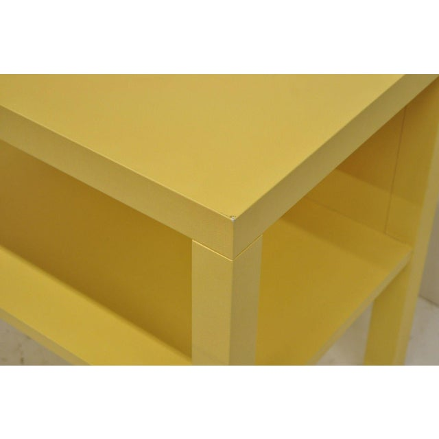 Textile Modern Decca Yellow Grasscloth Raffia Wrapped Parsons Nightstand For Sale - Image 7 of 10