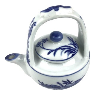 Vintage Chinese Style Blue & White Tea Pot For Sale