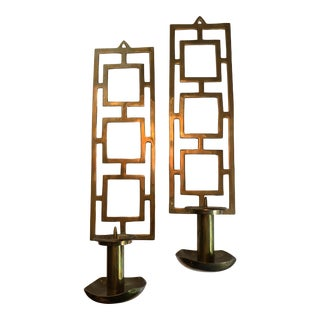 Indian Nora Fenton Mid Century Brass Wall Sconce Candle Holders - a Pair For Sale