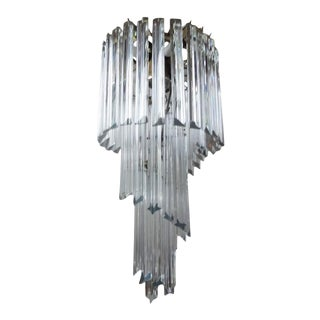 1960's Venini Style Clear Murano Glass Prism Spiral Chandelier For Sale
