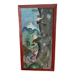 Folk Art Alpine Wall Plaque For Sale