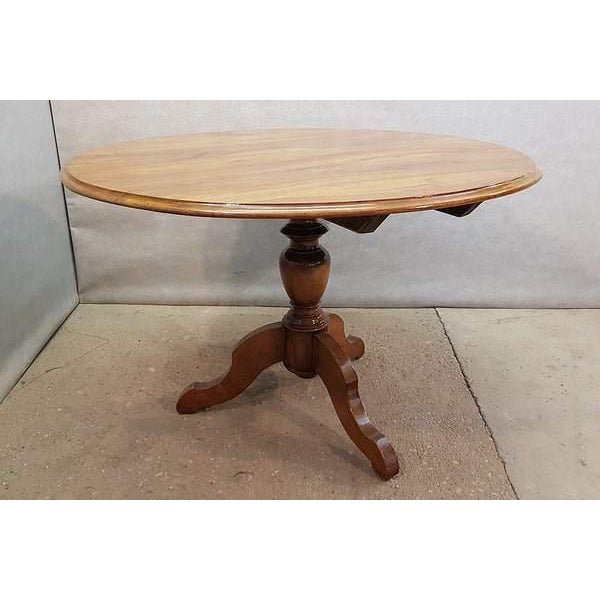 1950s Antique French Walnut Round Tilt Top Occasional Side Breakfast Table For Sale - Image 5 of 13