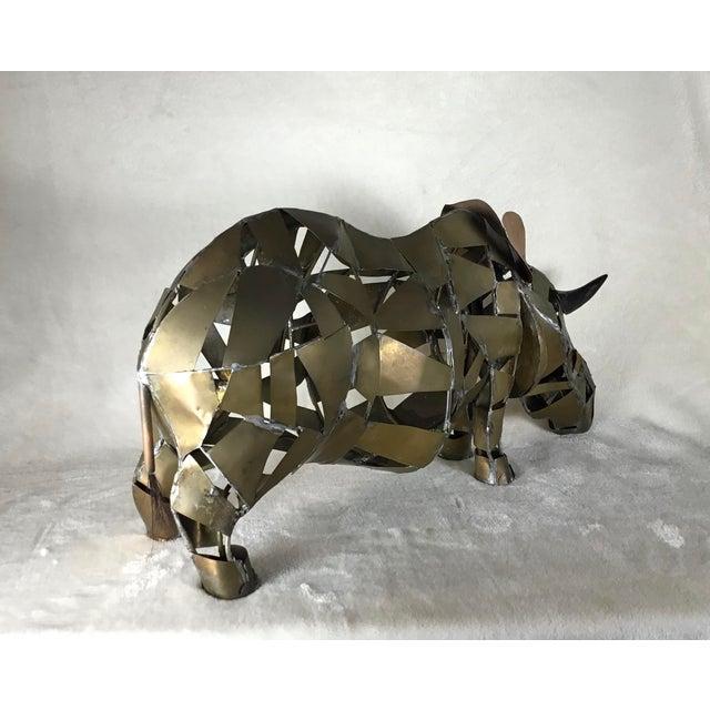 1960s Vintage Mid-Century Brutalist Brass Copper Rhino Freestanding Sculpture For Sale - Image 5 of 11
