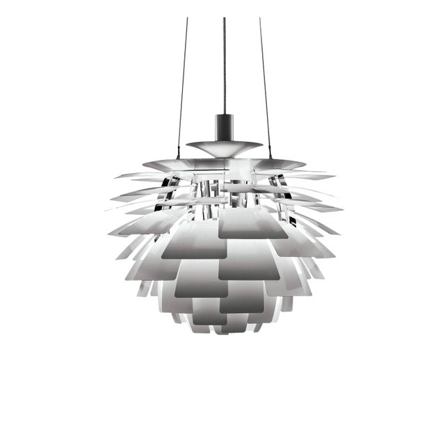 Poul Henningsen white PH artichoke chandelier for Louis Poulsen. The PH artichoke pendant light was designed in 1958 by...