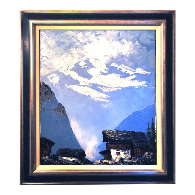 Vintage Swiss Alps and Cabin Large Framed Painting For Sale