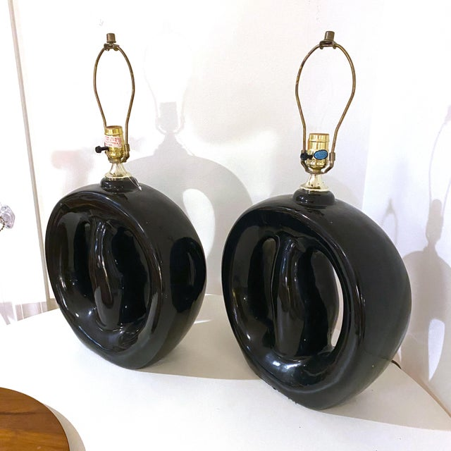 Mid-Century Modern Mid-Century Modern Black Glaze Pottery Sculptural Table Lamps - a Pair For Sale - Image 3 of 8