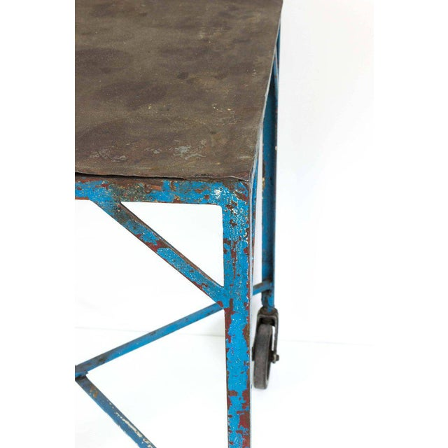 1920s French Industrial Table on Casters For Sale - Image 5 of 7