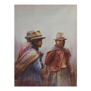 Watercolor of a Folkloric Scene From Peru For Sale