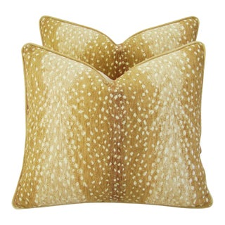 "Deer Antelope Fawn Spot Velvet Feather/Down Pillows 21"" X 18"" - Pair For Sale"
