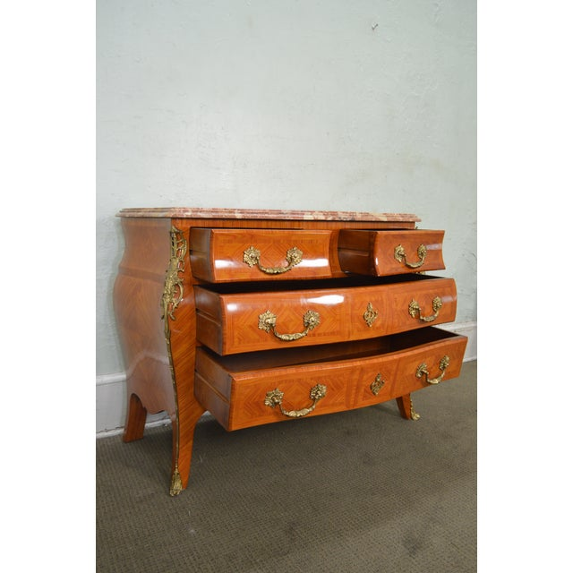 French Louis XV Style Marble Top Bombe Commode Chest of Drawers For Sale In Philadelphia - Image 6 of 12