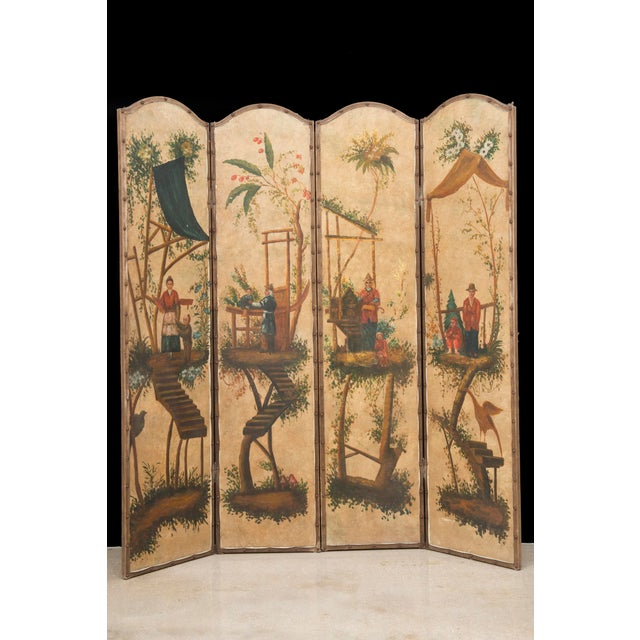 Vintage Chinoiserie Four-Panel Painted Screen on Board For Sale - Image 11 of 11