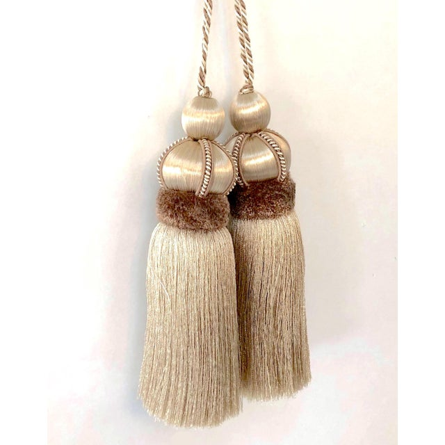Taupe Taupe Key Tassel With Cut Velvet Ruche - a Pair For Sale - Image 8 of 10