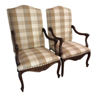 French Buffalo Check Chairs - a Pair For Sale