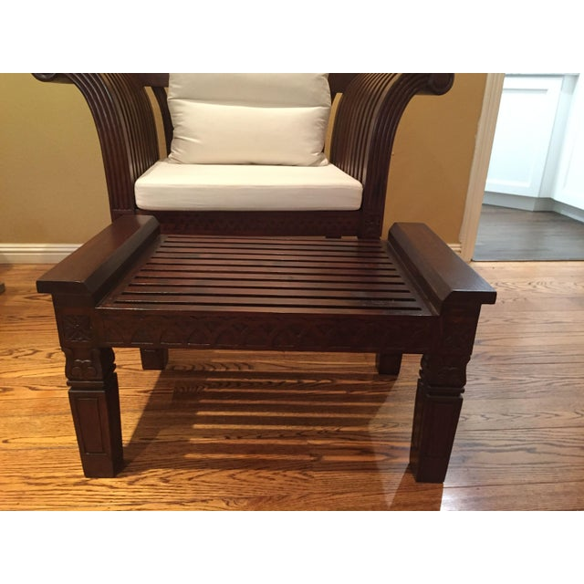 Hand-Carved Mahogany Wood Chair & Ottoman - A Pair - Image 6 of 10