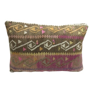 Vintage Turkish Purple Color Kilim Rug Pillow Cover For Sale