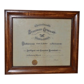 Century Old Business College in Santa Cruz, California Framed Diploma C.1904 For Sale
