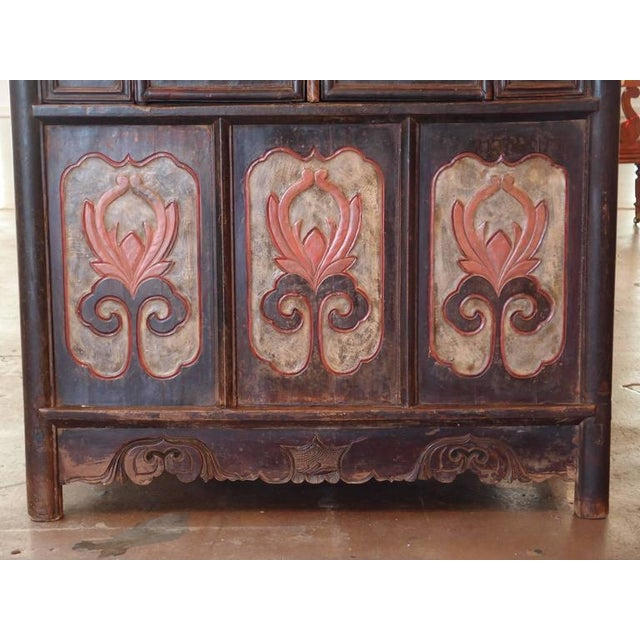 Chinese Lacquered Tall Cabinet Chest with Flower Panels and Dream Stones Inset For Sale In Austin - Image 6 of 6