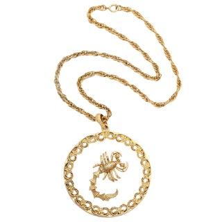 Scorpio and Lucite Pendant Necklace For Sale