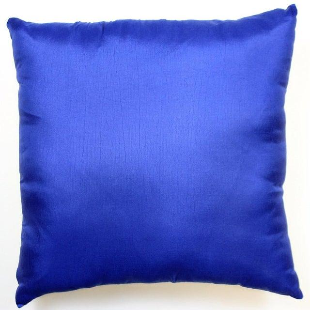 Royal Blue & Yellow Racing Stripe Silk Pillow - Image 3 of 3