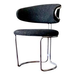 Mid-Century Scandinavian Modernist Barrel Back Chrome Chair For Sale