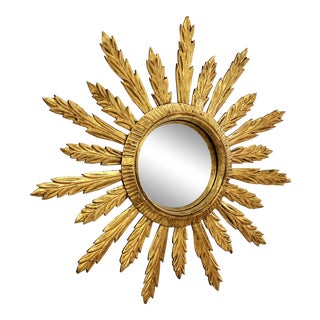 French Large Acanthus Leaf Sunburst Mirror For Sale