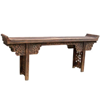 1940s Asian Antique Alter Table With Scrolling Tendril Carved Spandrels and Apron