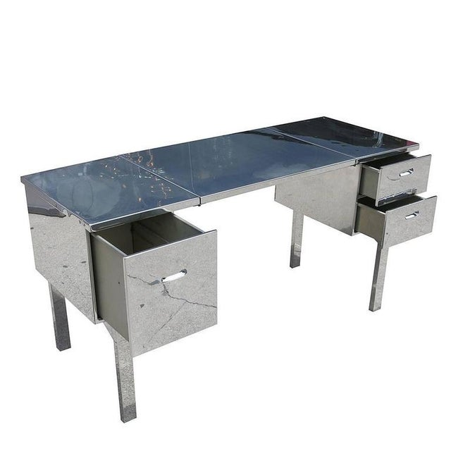 Mid-Century Modern Polished Aluminium WWII Campaign Desk For Sale - Image 3 of 10