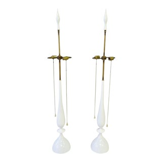 Tommi Parzinger Style White Lacquer with Brass Pull Rembrandt Table Lamps - a Pair For Sale