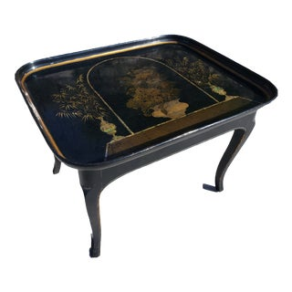 Antique Chinese Mother of Pearl Inlaid Lacquerware Tray Louis XV Style Table For Sale