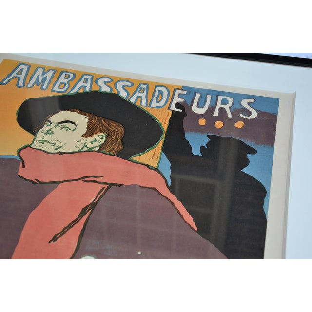 "French Framed Lithograph Print ""Aristide Bruant - Ambassadeurs"" by Henri De Toulouse-Lautrec For Sale - Image 3 of 13"