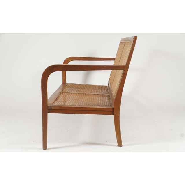 Wood 1940s French 'Art Moderne' Wood Frame & Cane Settee Loveseat with Horsehair Cushions Manner of Corbusier/ Jeanneret For Sale - Image 7 of 12