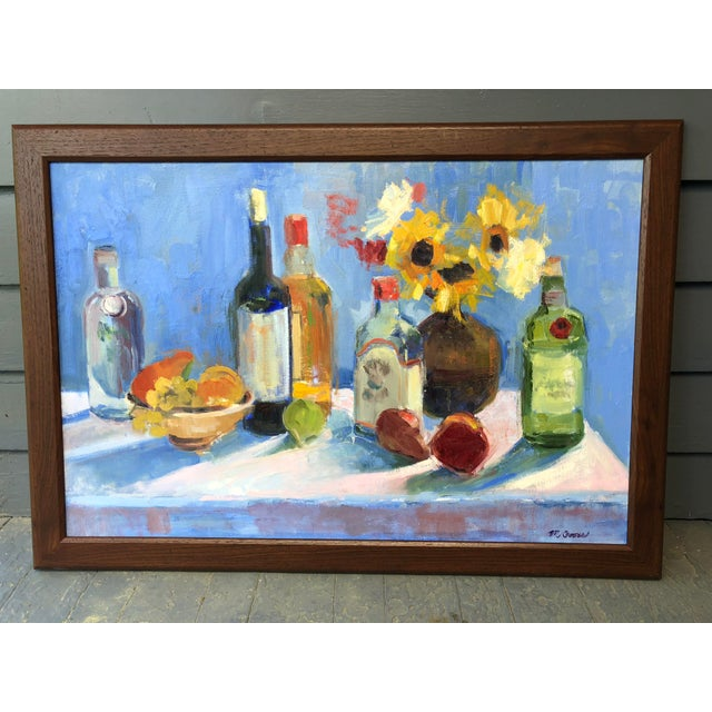 Colorful Still Life Painting With Fruit, Flowers and Bottles For Sale In Richmond - Image 6 of 6