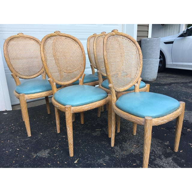 Expressionism 1970s Vintage Faux-Bois and Cane Dining Chairs- Set of 6 For Sale - Image 3 of 11